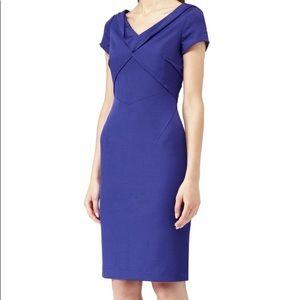 Reiss | Blue Agustini Fold Neck Tailored Dress